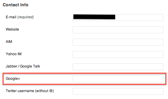 "Copy your Google Plus profile address into the ""Google+"" text field."